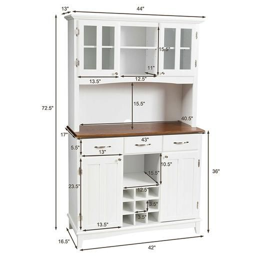White Buffet and Hutch Kitchen Storage Cabinet– UntilGone.com