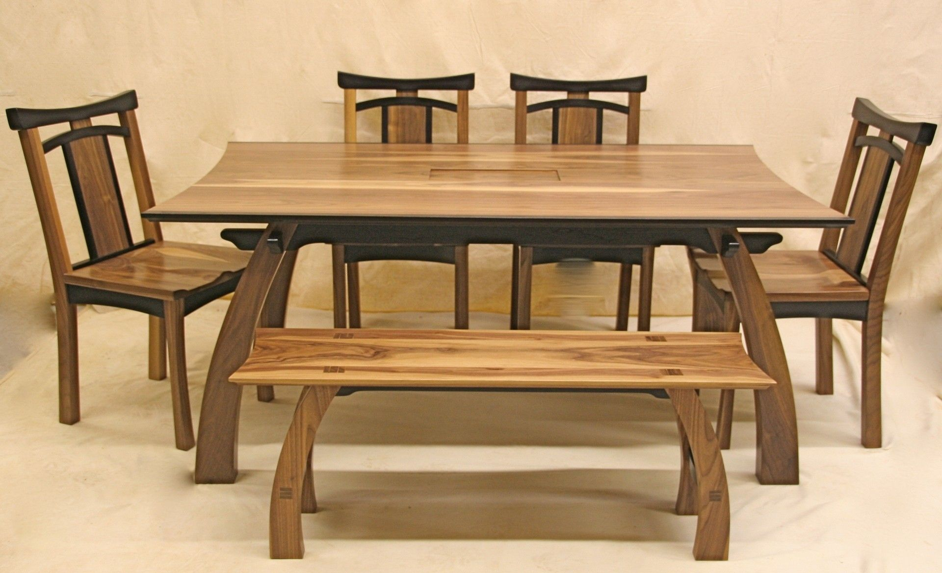 Rustic Japanese Low Teak Wood Dining Table Great Room Design