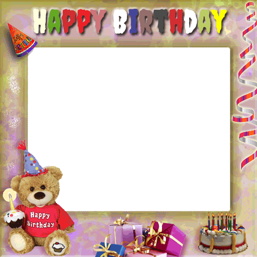 Create Your Birthday Photo Frame With Cute Teddy and Gifts Online ...