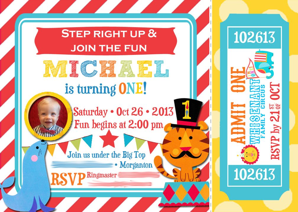 Circus St Birthday Invite St Birthday Carnival Party Ticket - Birthday invitation cards circus