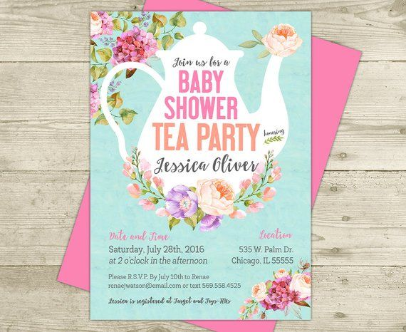 Tea Party Baby Shower Invitation Fl Shabby Pink And Blue