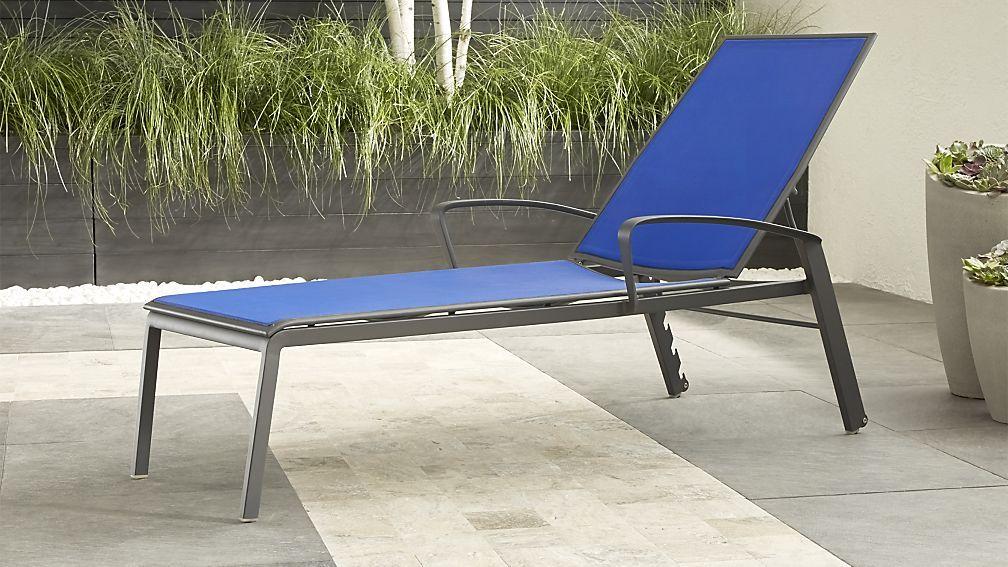 Largo Mediterranean Blue Mesh Chaise Lounge | Patio lounge