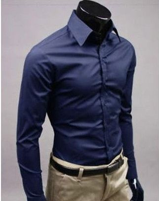 Stylish Long Sleeve Shirt Dark Blue | Single breasted, Sleeve and ...