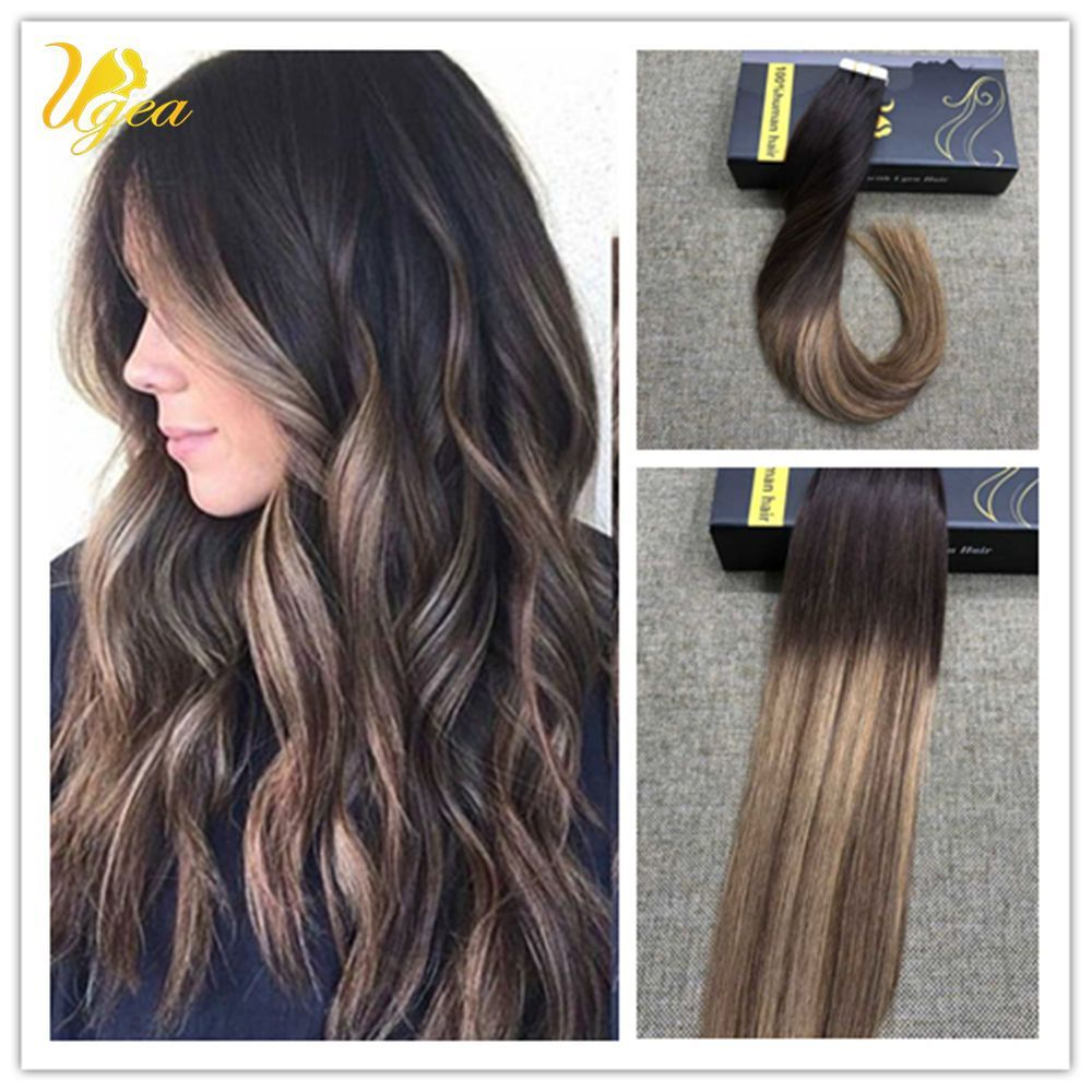 European Ombre Off Black Dark Brown PU Tape in Human Hair Extensions