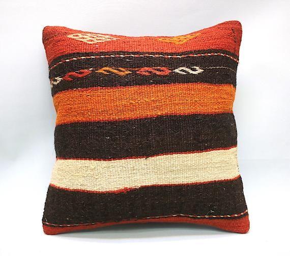 "Square Kilim Pillow, 16""x16"", Decorative Pillow, Bohemian Pillow, Vintage Pillow, Turkish Pillow, Throw Pillow, Kilim Pillow, Kilim Cushion"