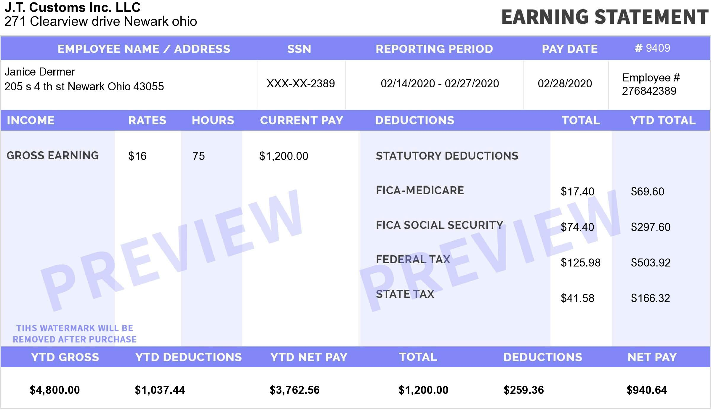 Explore Our Image Of Pay Stub Template For Nanny For Free Payroll Template Printable Checks Templates