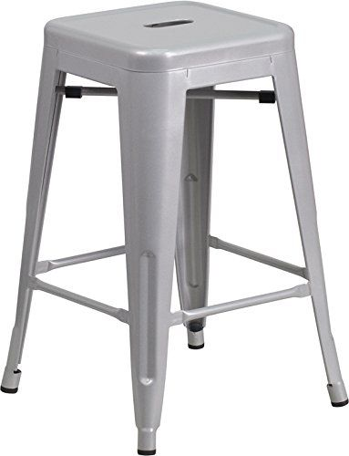 Amazon Com 24 Counter Height Bar Stools Silver By Urbanmod Set Of 4 Stackable Indoor Outdoor Kitchen B Bar Stools Metal Bar Stools Kitchen Bar Stools