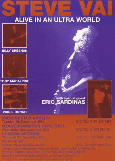 Steve Vai Ultra World UK Tour 2001 Music Poster 23x32