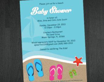 Beach Themed Baby Shower or Bridal Shower Invitation Baby Shower