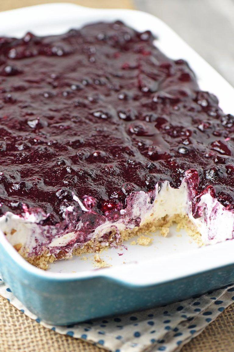 Creamy No Bake Blueberry Delight | Flour on My Fin