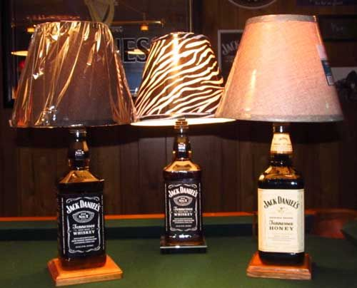 lamps made out of bottles liquid filled jack daniels