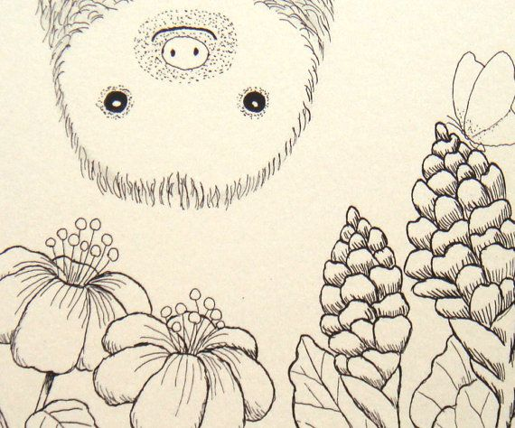 Print of Original Ink Drawing Cute Sloth Animal by mikaart on Etsy, $7.99