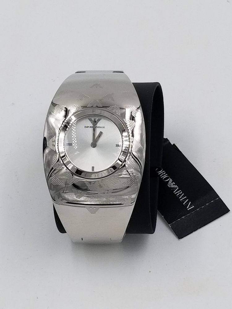cf269d63 Emporio Armani Silver Etched Logo Stainless Steel AR-5785 ...