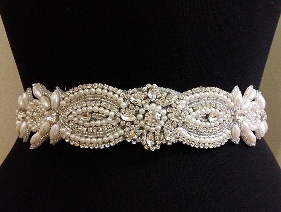 Handmade crystal bridal belt rhinestone pearl luxury wedding dress - Clear Rhinestone Pearl Wedding Bridal Dress Applique Trim Beaded Rhinestone Applique For Wedding Diy Sash