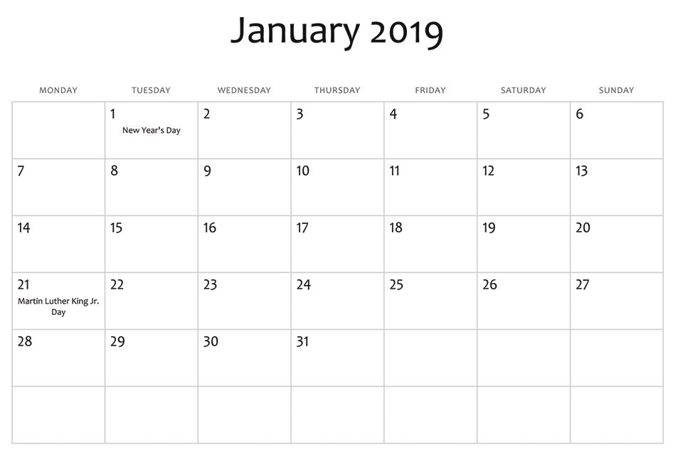 january 2019 usa holidays calendar monthly calendar templates