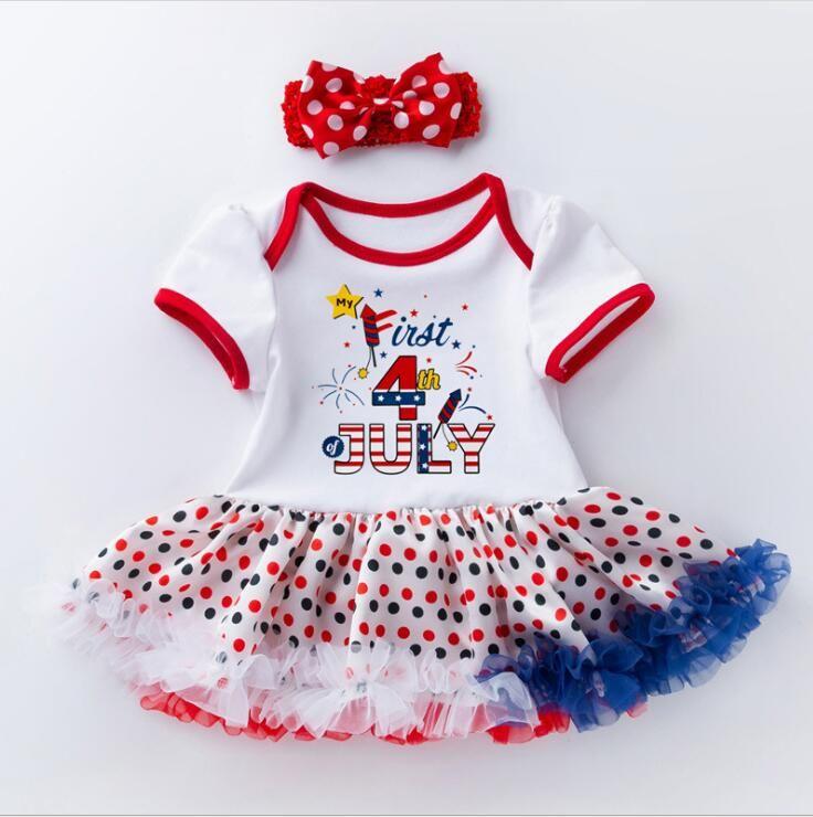 3c755360a America IndependenceDay Baby Hat Dress Baby Child Dress Cartoon Letter  Stripe Star Newborn Jumpsuit