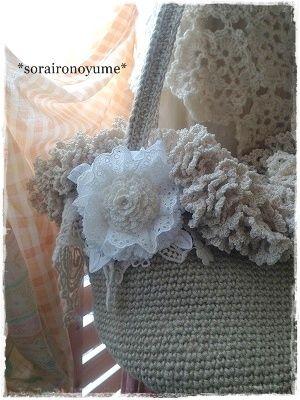 crochet corsage  Hemp crocheted bag   by *soraironoyume* MISHA http://ameblo.jp/soraironoyume-misha/entry-11470975419.html