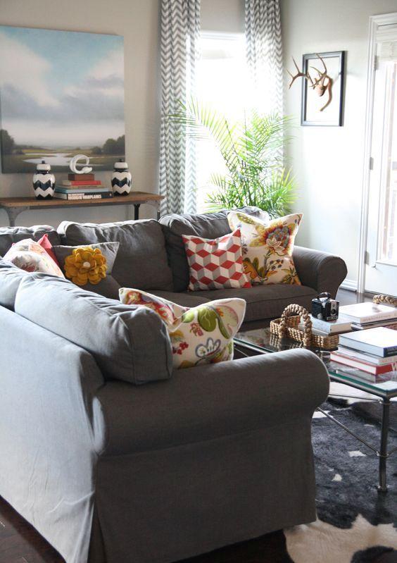 Sectional Ektorp Sofa In Dark Grey Ranch Fixer Upper Pinte