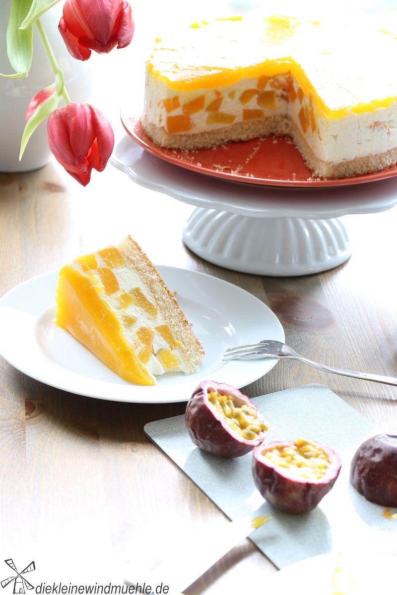 Pfirsich Maracuja Torte Die Kleine Windmuehle Pfirsich Maracuja Torte Maracuja Torte Kuchen Und Torten