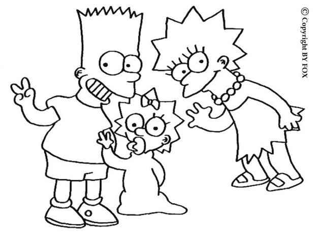 lisa maggie and bart simpsons coloring page more the simpsons coloring sheets on hellokids