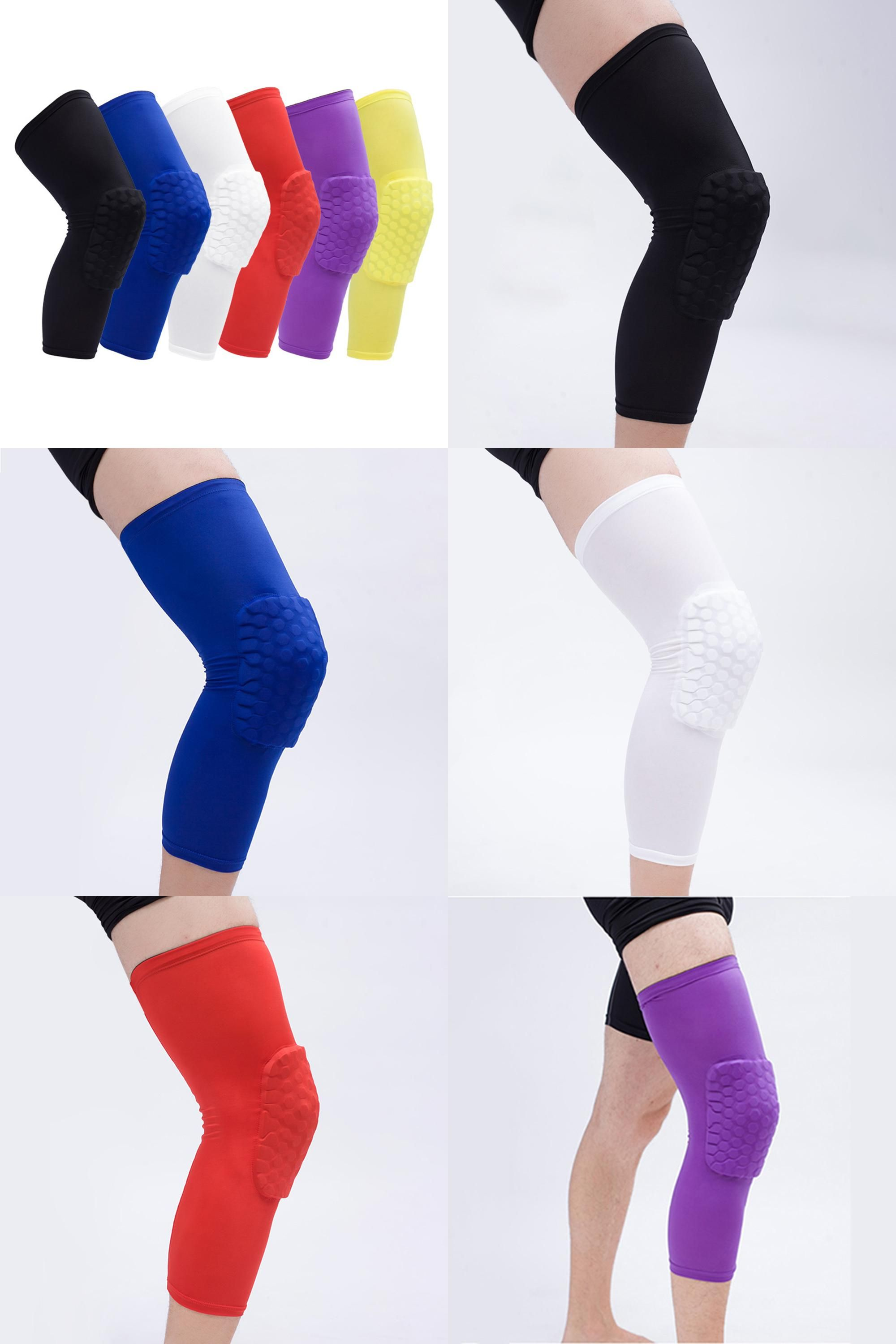 37f94a9f62 [Visit to Buy] Professional Honeycomb Sock Knee Pads Sport Safety  Basketball Breathable Knee Protectors Padded Knee Brace Compression Sleeve  #Advertisement