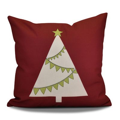 Mercury Row Christmas Garland Tree Throw Pillow Size 18\