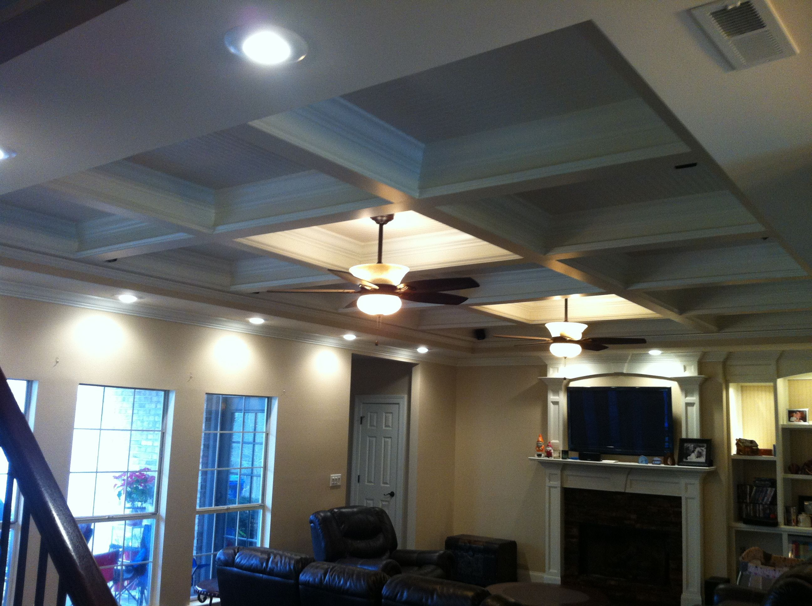 Coffered Ceiling looking towards fireplace
