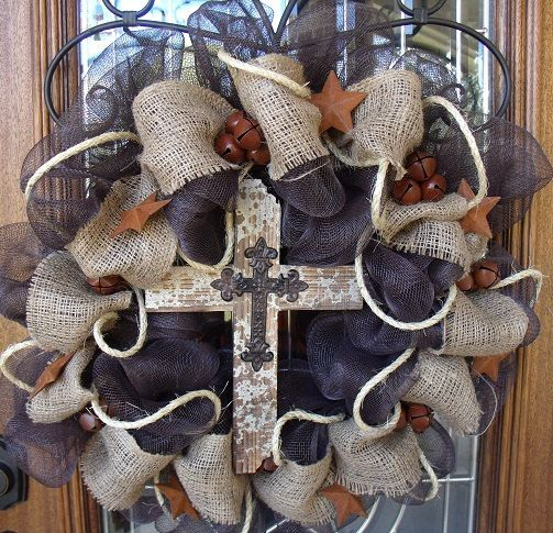 Burlap wreath with cross.