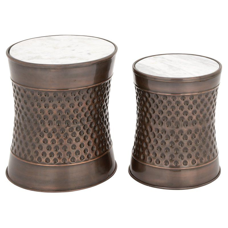 DecMode Marble Drum End Table Set of 2 54218 Marble