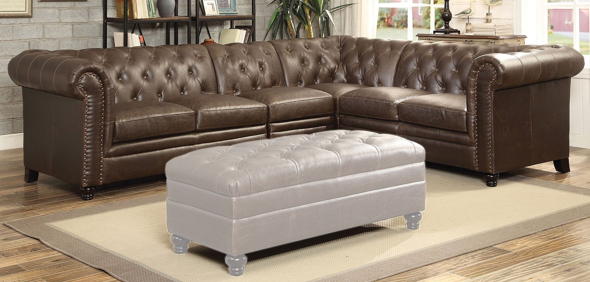 Roy Modular Sectional Brown Tufted Sectional Sofa Leather Sectional Sofas Tufted Sectional