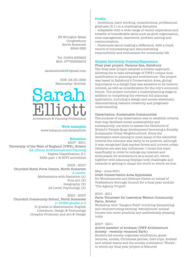 CV by Sarah Elliott, via Behance gotta make it Pinterest - architect resume samples