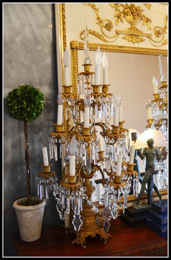 1840 Interior Design: Massive Pair Antique Electric Gilt Candelabras 1840s
