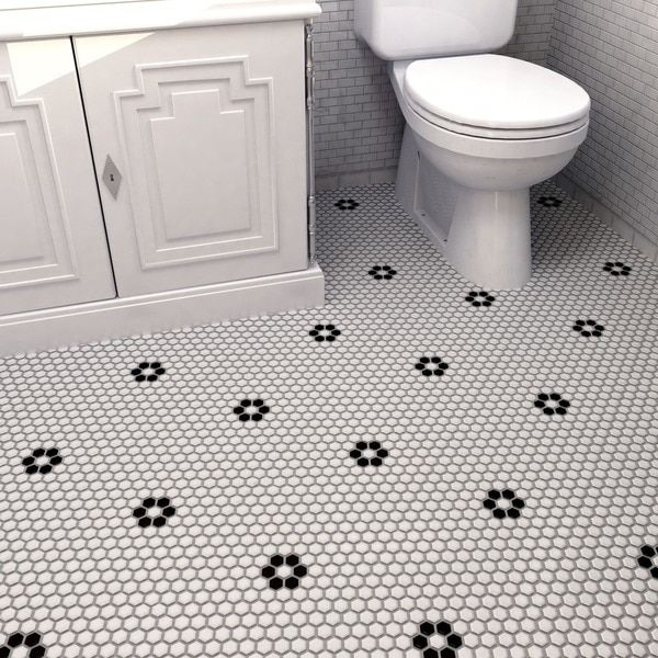 Somertile 10 25x11 75 Inch Victorian Hex Matte White With Flower Porcelain Mosaic Floor