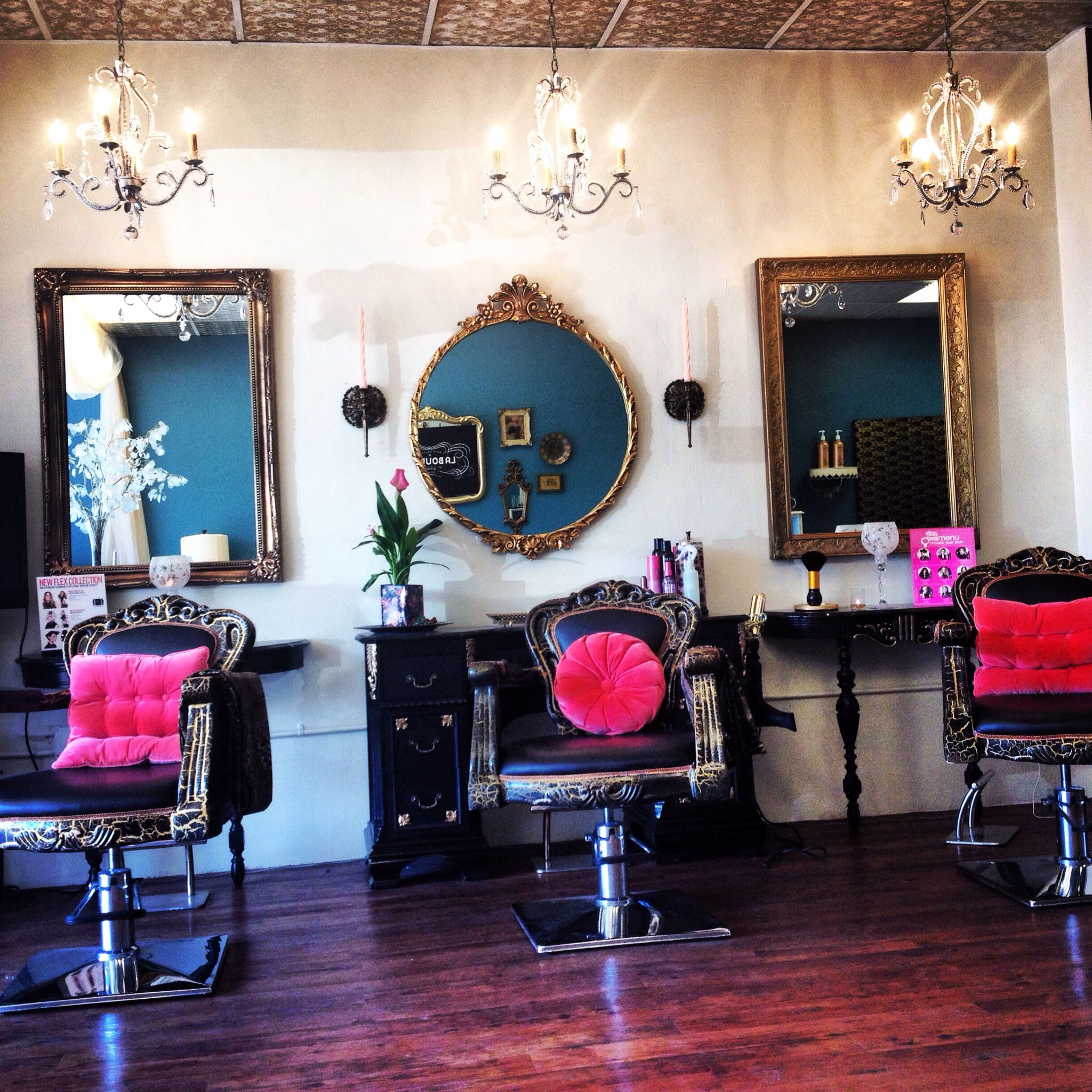 Love the style it gives this salon personality each for Salon furniture makeup station