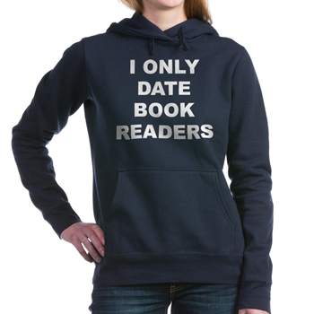 (FRONT) Women's dark color navy blue hooded sweatshirt with I Only Date  Book Readers
