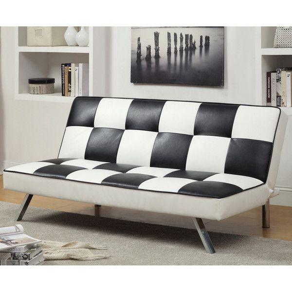 Aprentis Modern Retro / Checker Leatherette Futon ($495) ❤ Liked On  Polyvore Featuring Home
