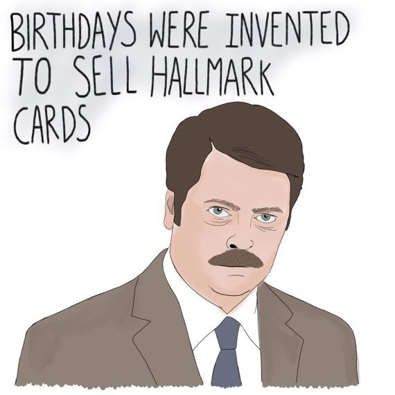 Ron Swanson birthday card Parks and Recreation by crookedkat