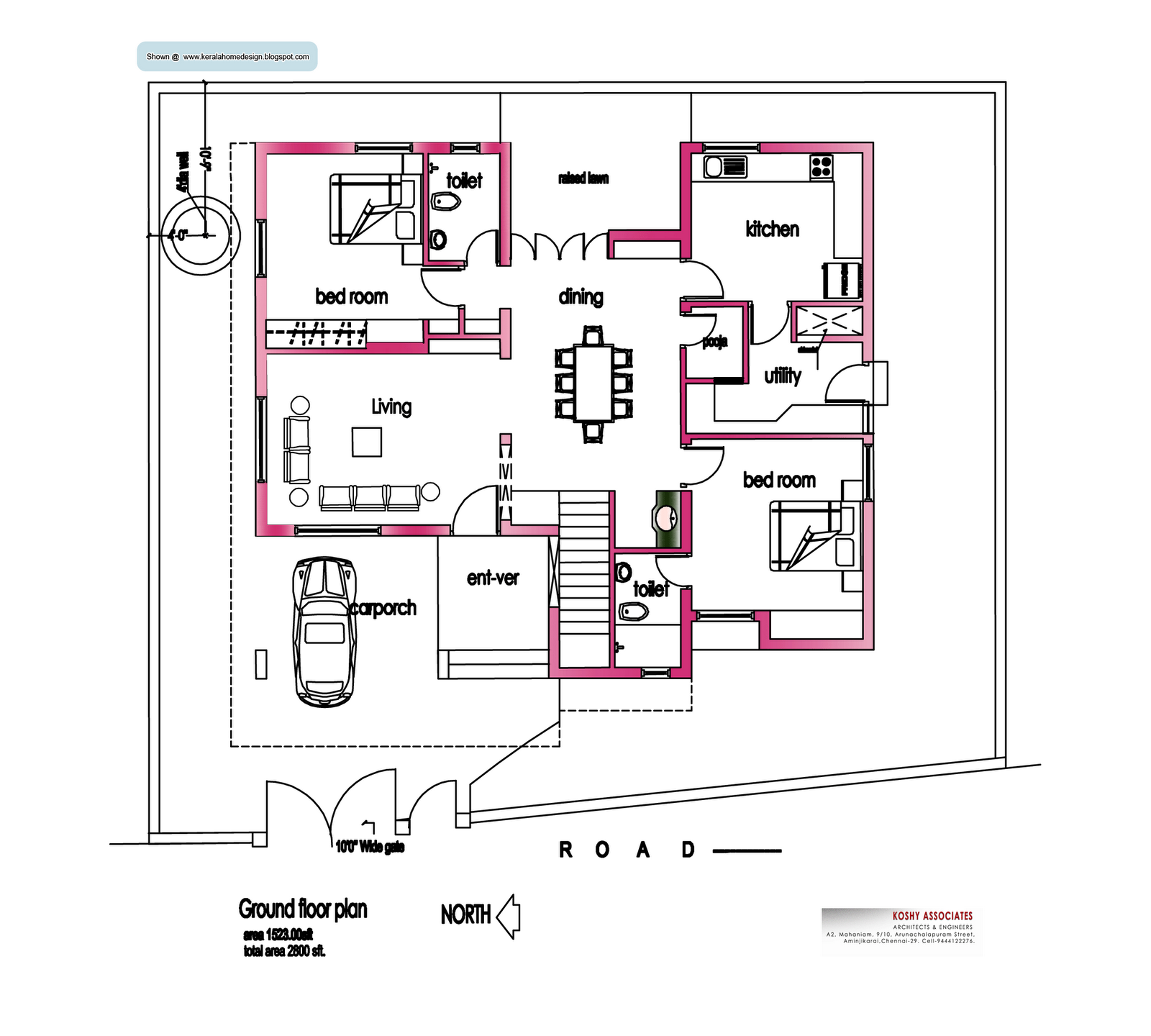 Image detail for modern house plan 2800 sq ft kerala for Small modern house floor plans