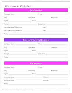 Insurance Policy Tracker Free Organizing Printables By