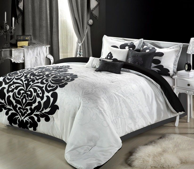 Black And White Bed Sheets 8pc Luxury Bedding Comforter Set Sheet Pillows In