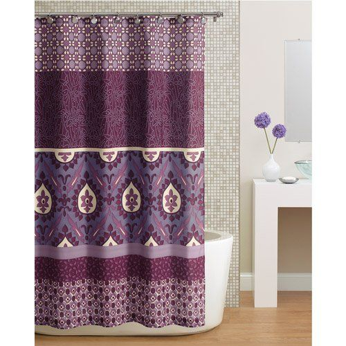Beautiful Purple Paisley Bohemian Fabric Shower Curtain Paisley