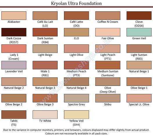 Kryolan Ultra Foundation Palette Refils Skin Color Palette Hair