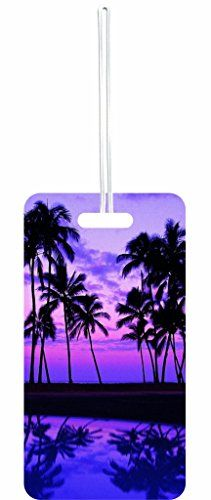 168ef868af Purple Palm Tree Sunset Rosie Parker Inc. Set of 8 Luggage Tags with ...