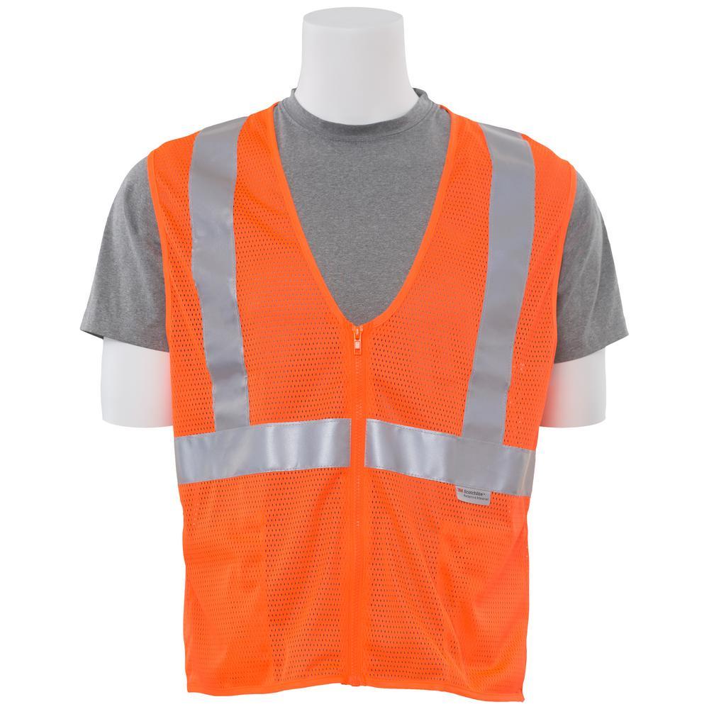 S15Z LG Hi Viz Orange Poly Mesh Safety Vest, Oranges/Peaches