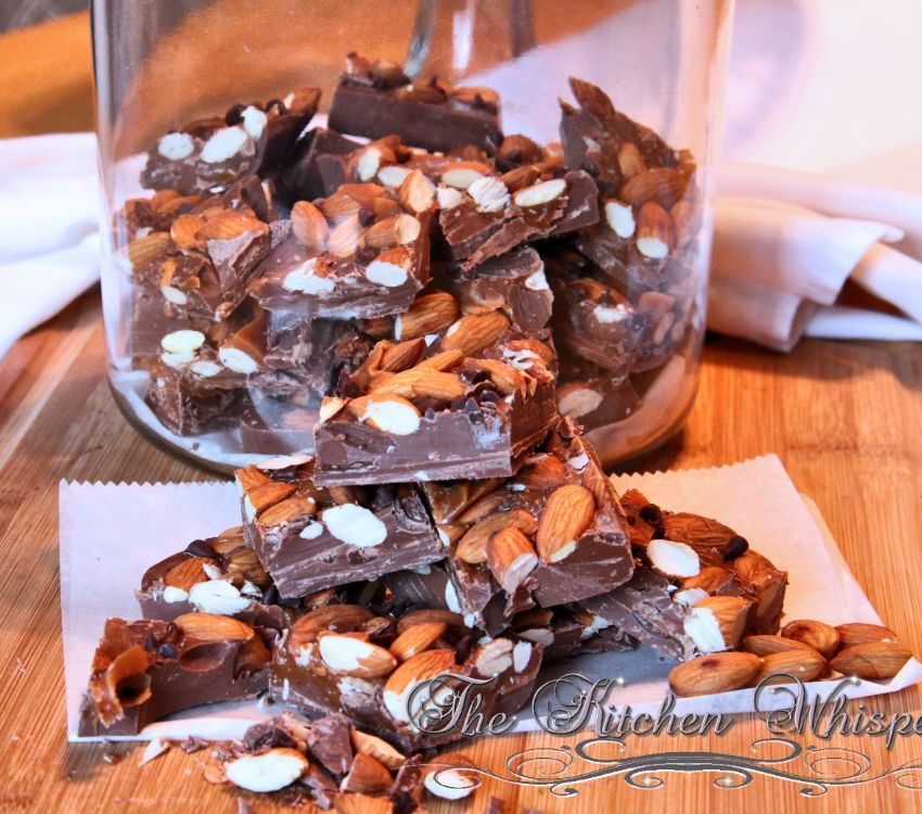 Toasted Almond Chocolate Caramel Bark with Sea Salt