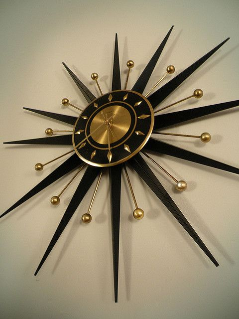 Sunburst Clock Mid Century Clock Sunburst Clock Mid Century Modern Clocks