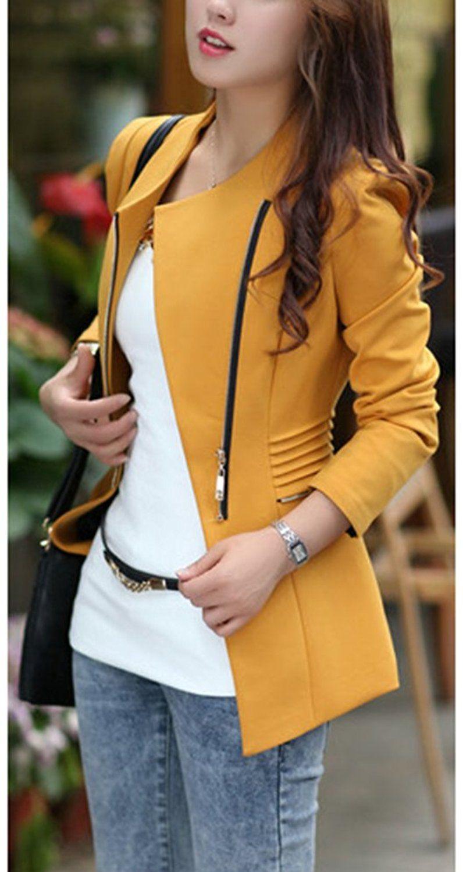 4f1d682bcc Chaqueta Cremallera Para Mujer Blazer Slim Fit Casuales Elegante Abrigos  Traje Amarillo 2XL  Amazon.es  Ropa y accesorios