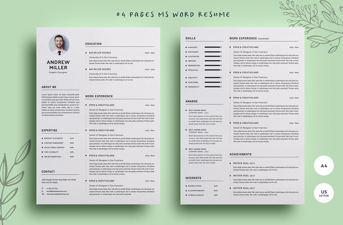 04 Pages WORD Resume Resume design template, Clean