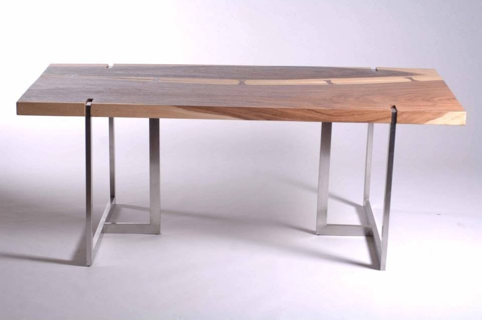 "Stainless Steel Dining Room Tables 79"" Dining Table Solid Chamcha Wood Stainless Steel Trilegs Inset"