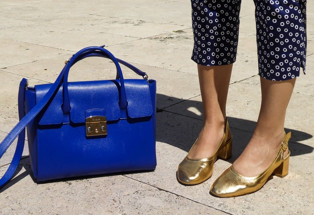 Furla Metropolis bag and Asos golden flats